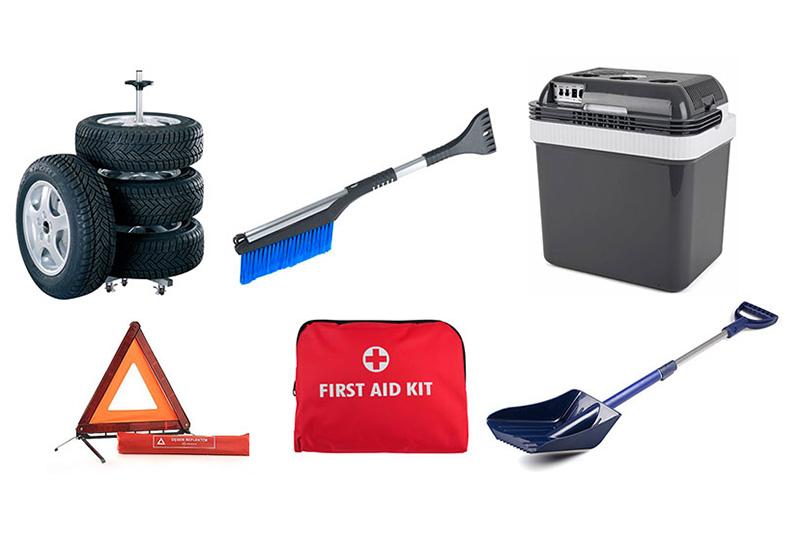 PDI-autoilutuotevalikoimasta löytyy esimerkiksi rengastelineitä, lumiharjoja ja -lapioita, varoituskolmioita, ensiapupakkauksia ja kylmälaukkuja.