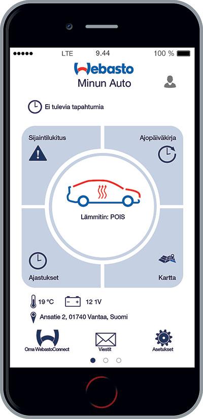 Webasto ThermoConnect -lämmitinohjaus toimii kätevällä mobiilisovelluksella, joka on helppokäyttöinen ja selkeä.
